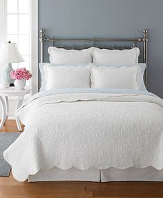 Martha Stewart Collection Bedding, Damask Trace White Quilts