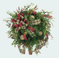Rustic Winter Door Wreath in Burgundy Moss Green & Cream Color Rustic Winter Wreath Burlap Winter Wreath Evergreen Winter Wreath by SouthernCharmWreaths $110.00 USD #doorwreaths