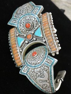 Old Tibetan Tribal Jewelry Articulated Bracelet - Unique in Coral Turquoise and Brass