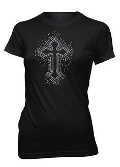 Jesus Christ Cross Glitter Christian T-Shirt for Juniors