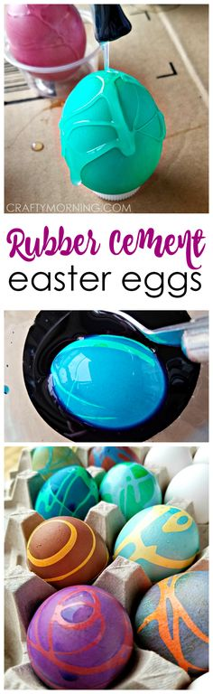 These swirly rubber cement easter eggs are awesome! Such a fun egg decorating idea with the kids.
