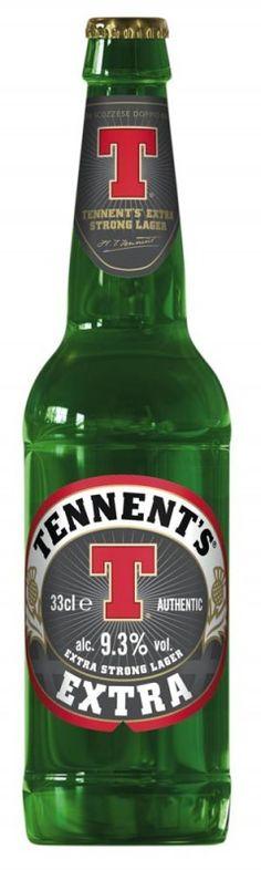 Cerveja Tennent's Extra, estilo Strong Scotch Ale, produzida por Wellpark, Escócia. 9.3% ABV de álcool.