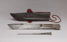 Hunting Knife, Sharpener, and Sheath