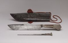 Hunting Knife, Sharpener, and Sheath