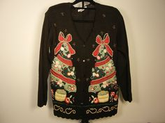 Ugly Christmas Sweater Black Long Sleeve Button Up Size M     $28.97         1786 #CarolRose #Buttonup