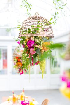 love these floral chandeliers from sugar and cloth!