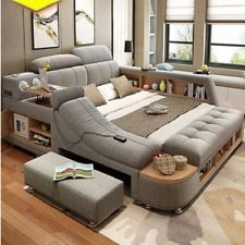 2018 All In One Leather Double Bed With Speakers Storage Safe Perfect Relaxation Bed Leather Double Bed Double Beds
