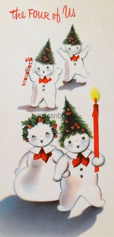 #1493 50s Norcross Snowman Family-Vintage Christmas Card-Greeting