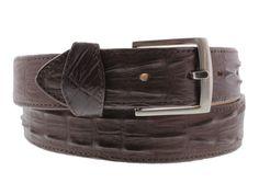 White Western Cowboy Leather Crocodile Alligator Tail Belt Silver Buckle