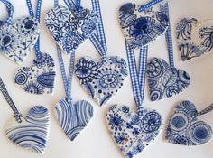 handmade delft hearts. perfect for a christmas tree