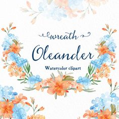 Wreath Oleander Watercolour clip art hand drawn. by LABFcreations