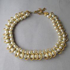 Vintage Kramer Double Row Imitation Pearl & Rhinestone Collar Necklace