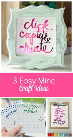 Craft ideas using the Heidi Swapp Minc Foil application tool. Easy home decor, quotes, and calendars!