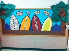 Surfing into second grade~Too cute! This may be my end of the year bulletin board transitioning into 3rd grade.
