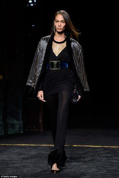 Glamorous details:Rousteing's latest collection has won much praise from fashion critics...