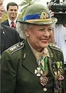 World War II veteran Major Elza Cansanção Medeiros was a Brazilian Army officer that went to Italy during the war along with the Brazilian Expeditionary Force as a nurse.