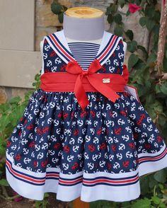 Vestido de niña marinero con vuelo mod. 726 Eco Baby, Nautical Dress, Toddler Dress, Frocks, Kids Outfits, Sewing Patterns, Dressing, Baby Dresses, Clothes