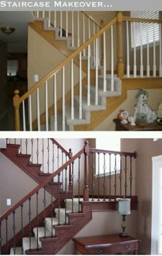 Really want to make over my stairs too. really tired of the blue painted stairs with all the antique furniture we have in that room! Looks like a big project to undertake though. The Yellow Cape Cod: Staircase Makeover~Before and After Home Diy, Staircase Makeover, Remodel, New Homes, House, Diy Staircase, Home Projects, Home Decor, Diy Staircase Makeover