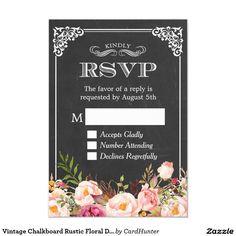 Vintage Chalkboard Rustic Floral Decor RSVP Reply