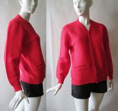1960's red cardigan with hip pockets and by afterglowvintage, $28.00