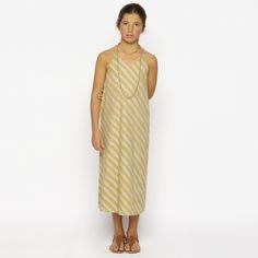 Robe longue rayée rose & or pour mini de 1 à 10 ans ⭐
