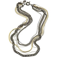 Giles & Brother Six-strand chain necklace ($280) ❤ liked on Polyvore featuring jewelry, necklaces, accessories, colares, nakit, chains jewelry, colorful necklaces, multi strand necklace, chain necklace and tri color necklace