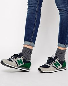 d6284f1951 New Balance 420 Suede Mesh Grey and Green Trainers at asos.com