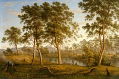 Natives on the Ouse River, Van Diemen's Land, John Glover, 1838