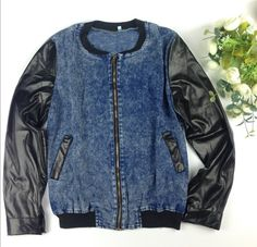 Blue Patchwork PU Leather Zipper Band Collar Long Sleeve Denim Coat - Outerwears - Tops