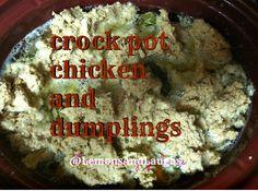 Chicken and Dumplings - Lemons and LaughsLemons and Laughs Crockpot Chicken And Dumplings, Dumpling Recipe, Mashed Potatoes, It's Thursday, Crock Pot, Ethnic Recipes, Whipped Potatoes, Slow Cooker, Smash Potatoes