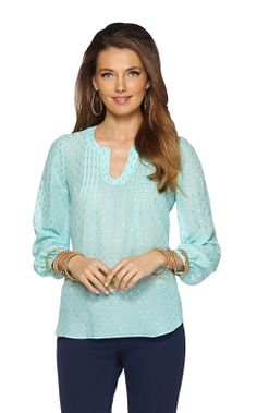Colby Pintuck Top in Shorely Blue from Lilly Pulitzer. $168