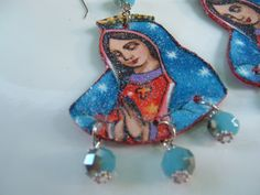 La Virgen de Guadalupe~ Fabric Leather earrings. via Etsy.