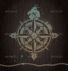 GraphicRiver Vector Compass Rose Painting on a Wooden Wall 4940527