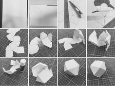 Working on a 3D paper sculpture using generic printer paper, easy folds and clean finish