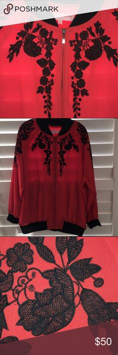 Embroidered Bomber Jacket, Size XL Check out this tres chic bomber jacket from Urban Fitting Room. I love the soft, silky feel, beautiful floral embroidery, black trim and quality of this jacket. This item is in like new, excellent condition - it has never been worn. Additional details: Front zip closure, two front pockets, size XL, 100% polyester; fits TTS. Urban Fitting Room Jackets & Coats