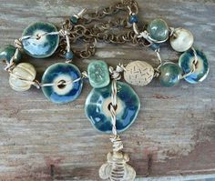 More Buzzin'Lovely Ceramic Disk Beads with Ceramic Bee Dangle, Ceramic Beads, Glass Strung and Knotted on Hemp Thread to Vintaj Chain