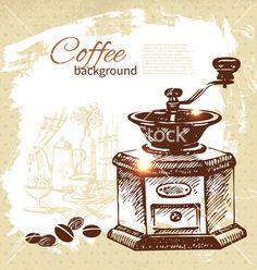 Hand drawn vintage coffee background vector by pimonova on VectorStock®