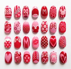 "… All of the Minnie Mouse inspired nail designs I created for using the amazing Couture de Minnie shades: ""A Definite Moust-Have"", ""Chic From Ears To Tail"", ""Innie Minnie. Nail Art Minnie, Minnie Mouse Nails, Disney Nails, Pink Minnie, Love Nails, White Nails, Pink Nails, Pretty Nails, Trendy Nail Art"