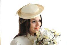 Vintage ivory school girl hat formal Madeline by RoseleinRarities