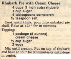 Rhubarb pie with Cream Cheese