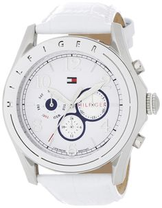 Tommy Hilfiger Women's 1781052 Sport Mother-Of-Pearl Dial White Croco Embossed Strap Subdial Watch ** Check this awesome watch by going to the link at the image.
