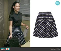 Joan's striped skirt on Elementary.  Outfit Details: https://wornontv.net/64098/ #Elementary