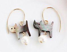 Cat Gold Earrings Pearl Drop Earrings Black Color