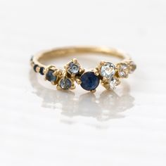 Melanie Casey: Sapphire Ombré Cluster Ring and Necklace