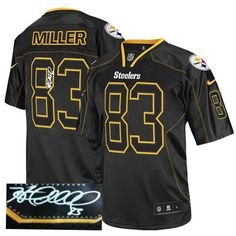 49be0ea06 Heath Miller Men s Elite Lights Out Black Jersey  Nike NFL Pittsburgh  Steelers Autographed  83
