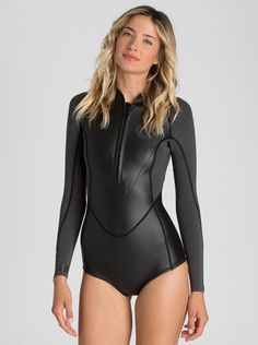 Keep the sun on your bum and off your shoulders. The Surf Capsule Collection spring suit combines swimwear lines with the functionality and warmth of . Plus Size Swimwear, One Piece Swimwear, One Piece Swimsuit, Short Surf, Surfer Girl Style, Womens Wetsuit, Shiny Leggings, Swimsuits, Bikinis