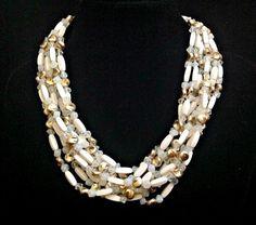 Milk Glass Necklace 8Multi Strand Vintage Japan by RenaissanceFair