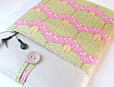 iPad Airs 2 Case Pocket, Amy Butler iPad Sleeves 1 2 3 4, Women's Padded Tablet cover, Lotus flower Linen, Women Fabric Bag Pink Green by MadeByJulie on Etsy https://www.etsy.com/listing/221622410/ipad-airs-2-case-pocket-amy-butler-ipad