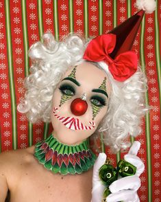 This is adorable AF! is something out of a Christmas Candyland game board in candy themed makeup and Christmas tree eyes adorned in our 'Slayer' lashes - which by the way, all the Christmas clowns are wearing these days! Clown Makeup, Fx Makeup, Costume Makeup, Makeup Ideas, Makeup Tips, Christmas Makeup Look, Holiday Makeup, Makeup Is Life, Crazy Makeup