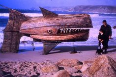 Giant Wooden Fish Formed With Two Recycled Boats  by British artist David Kemp